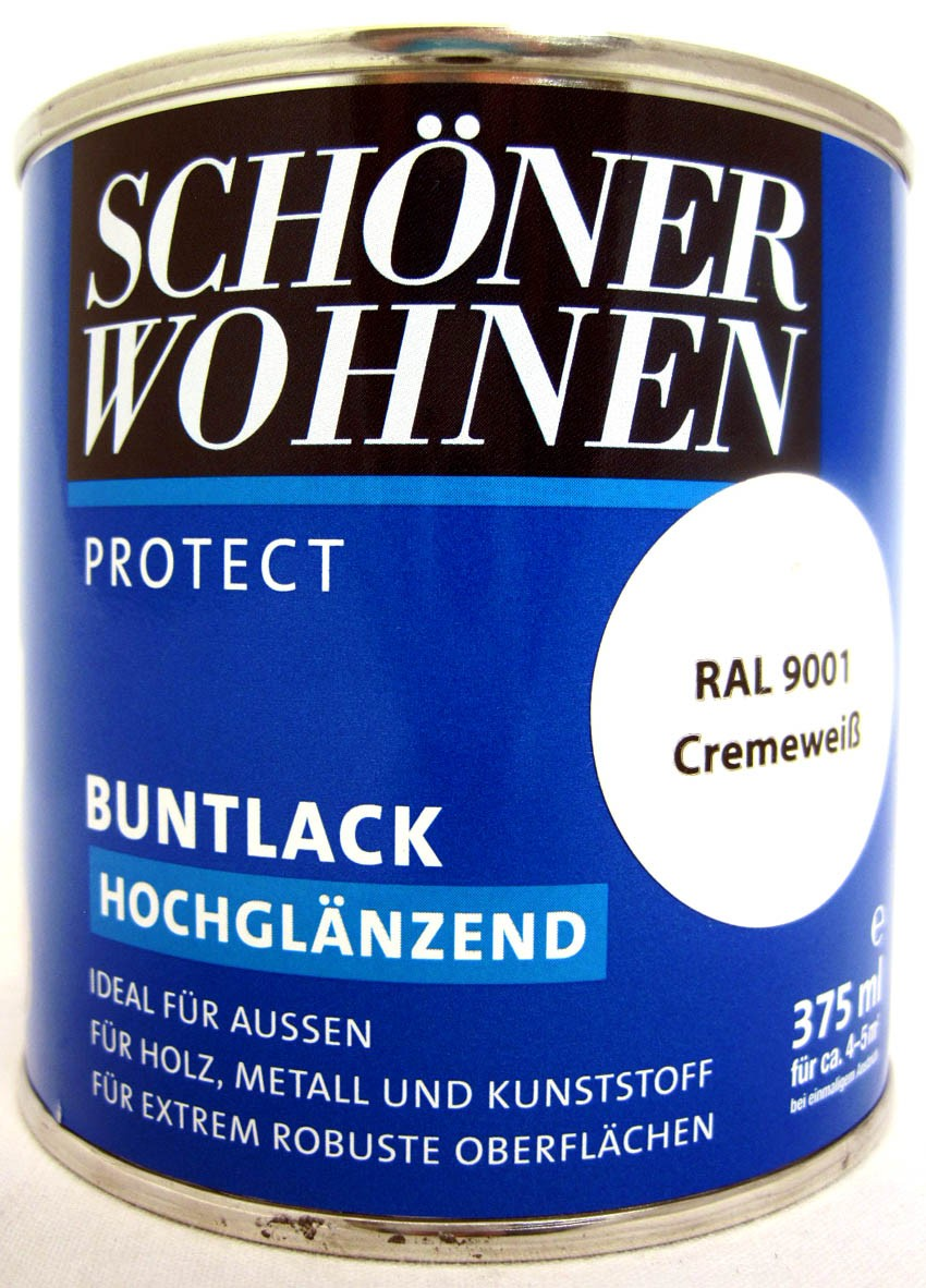 Protect Buntlack 125 ml RAL 9001 Cremeweiß hochglänzend, Alkydharzlack SW