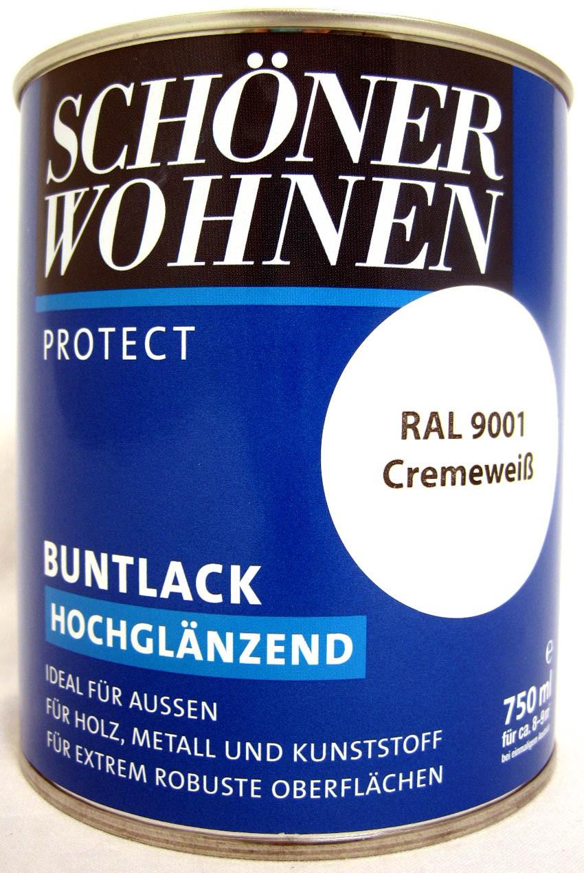 Protect Buntlack 750 ml RAL 9001 Cremeweiß hochglänzend, Alkydharzlack SW