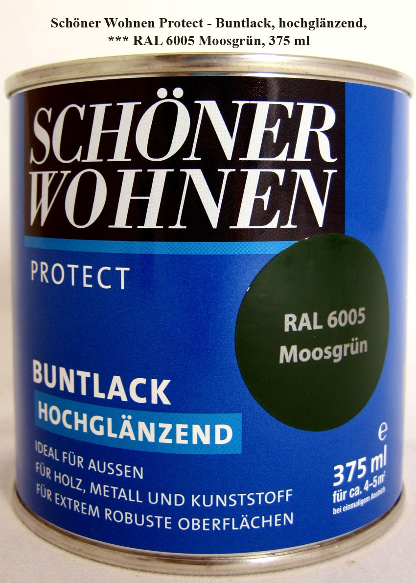 Protect Buntlack 375 ml, RAL 6005 Moosgrün hochglänzend, Alkydharzlack SW