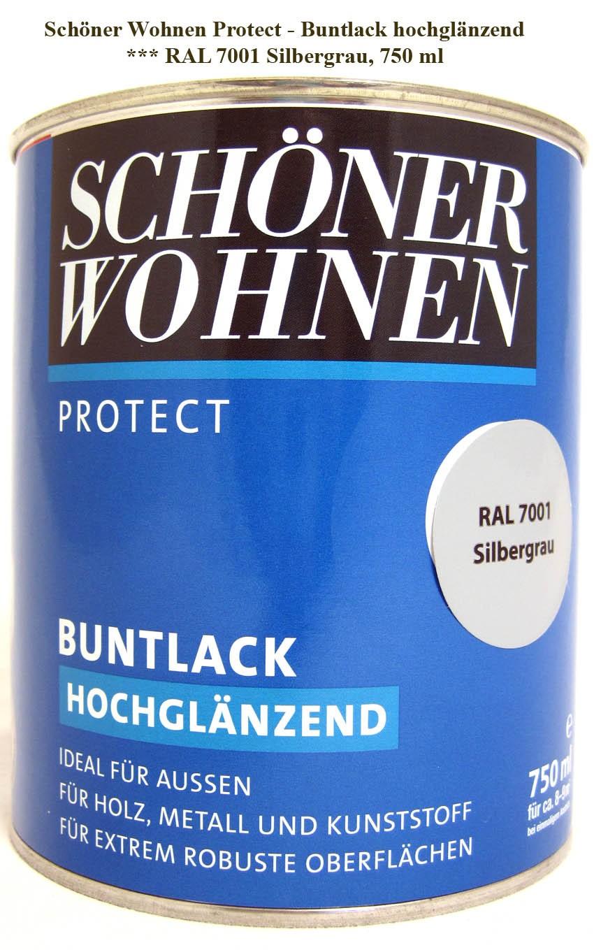 Protect Buntlack 750 ml, RAL 7001 Silbergrau hochglänzend, Alkydharzlack SW