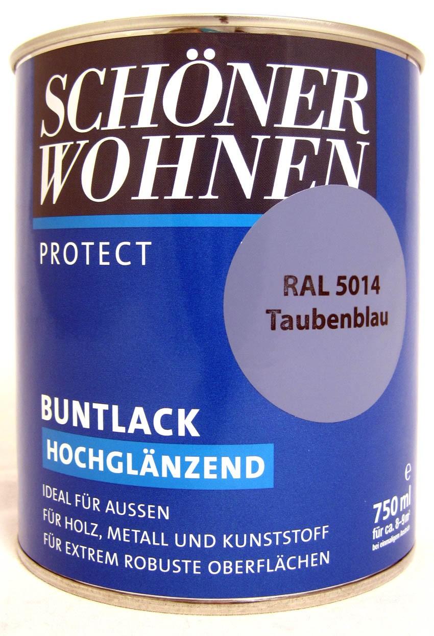 Protect Buntlack 750 ml, RAL 5014 Taubenblau hochglänzend, Alkydharzlack SW