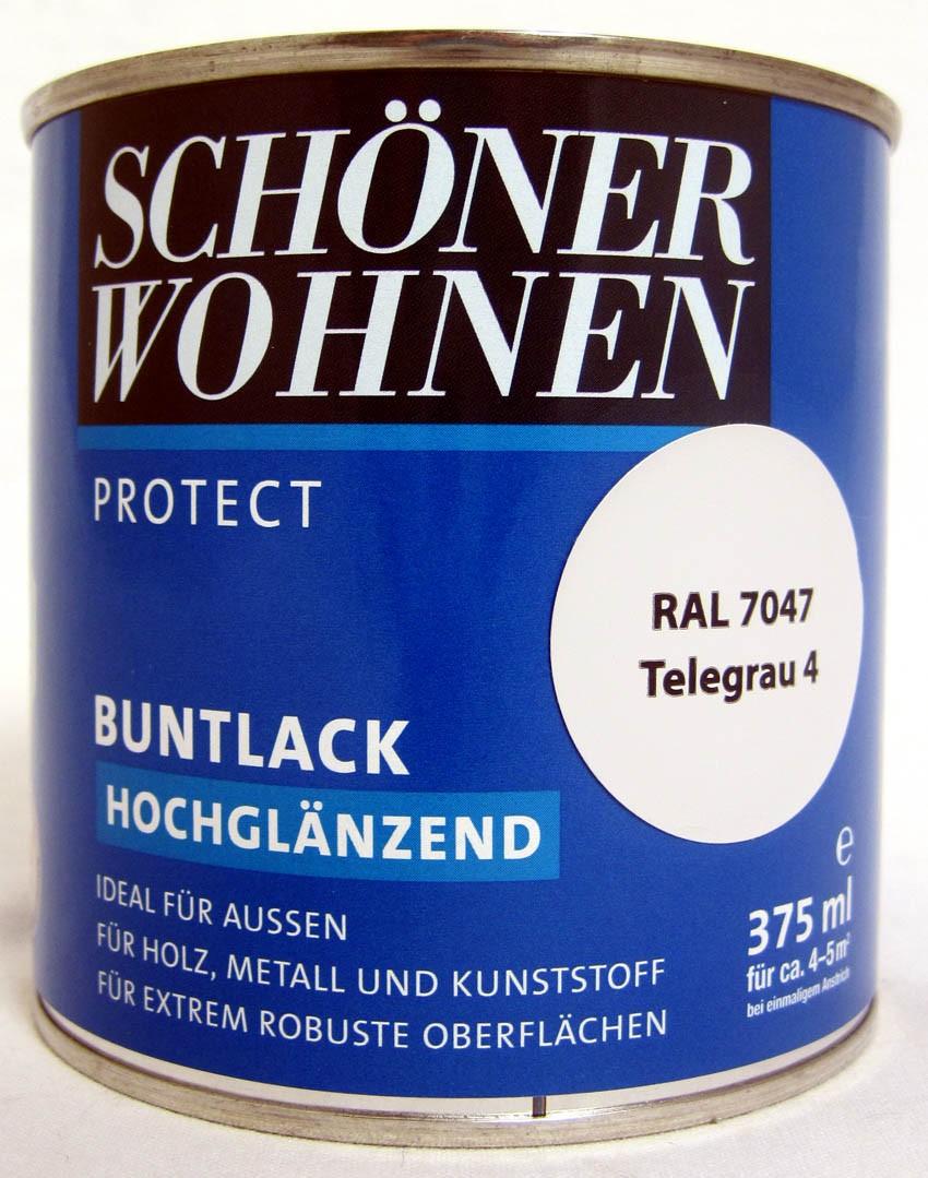 Protect Buntlack 375 ml, RAL 7047 Telegrau 4 hochglänzend, Alkydharzlack SW