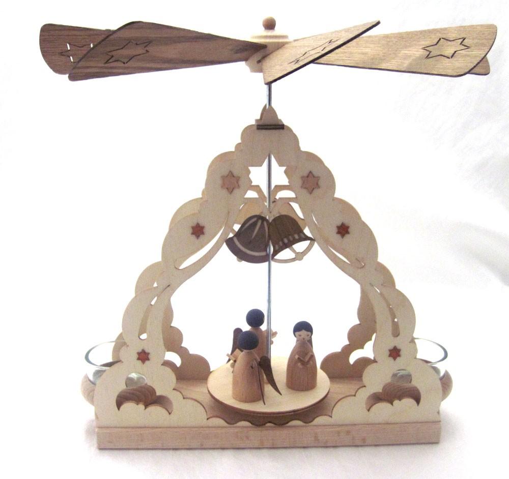 Teelichtpyramide mit Engeln natur Tischpyramide