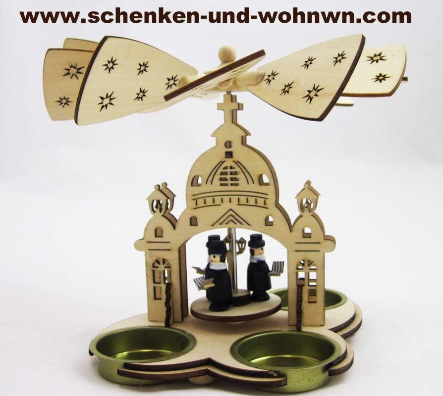 Kleine Laserholz-Pyramide für 3 Teelichte, Sternsinger ca. 16 x 11 x 15 cm