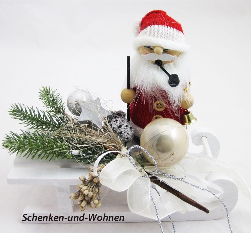 """Räucherfigur """" Strickpüppchen """" Santa mit Glocke ca. 13 cm"""