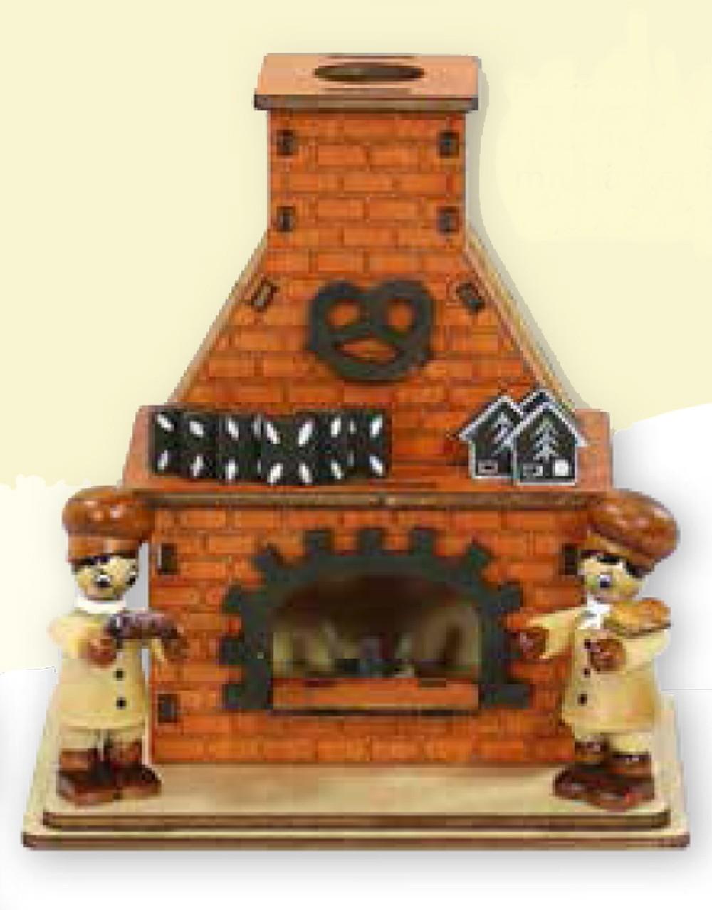 Räucherhaus mit 2 Bäckerfiguren ca. 13 x 12 x 9 cm