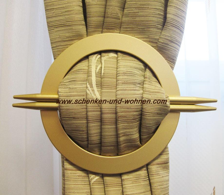 Dekorationsspange/Raffspange mit 2 Splinte, Messing matt - rund ca. 16 cm