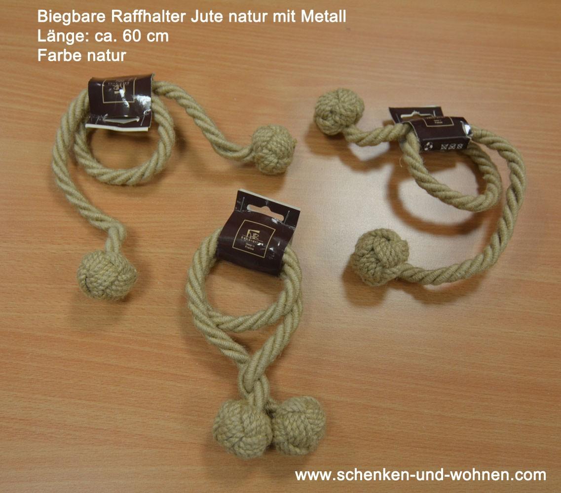Biegbarer Jute-Raffhalter mit Metall 60 cm natur