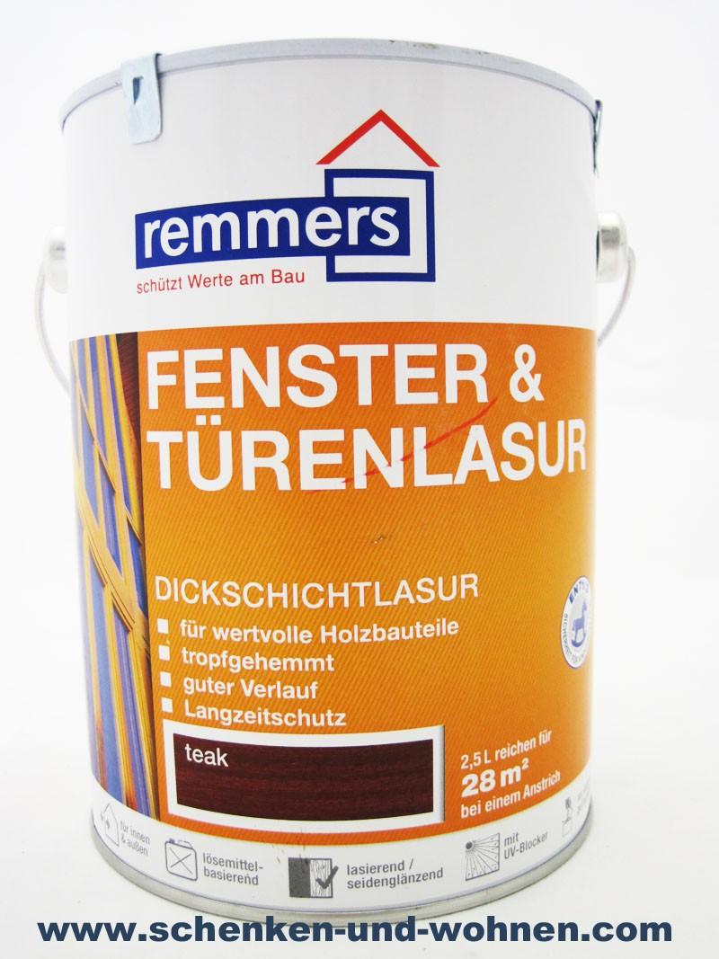 Dickschichtlasur Remmers Fenster- und Türenlasur  teak innen & außen 2,5 L