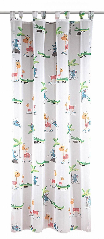 Kinderzimmer-Schlaufenschal Maus, Weiß mit Tiermotiven 245 x 145 cm