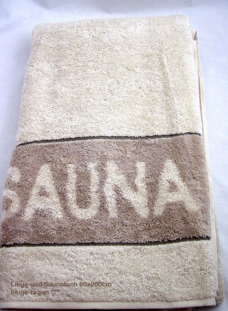 Saunatuch Liegetuch Sand-Braun ca. 80 x 200cm, mit Aufhängeschlaufe