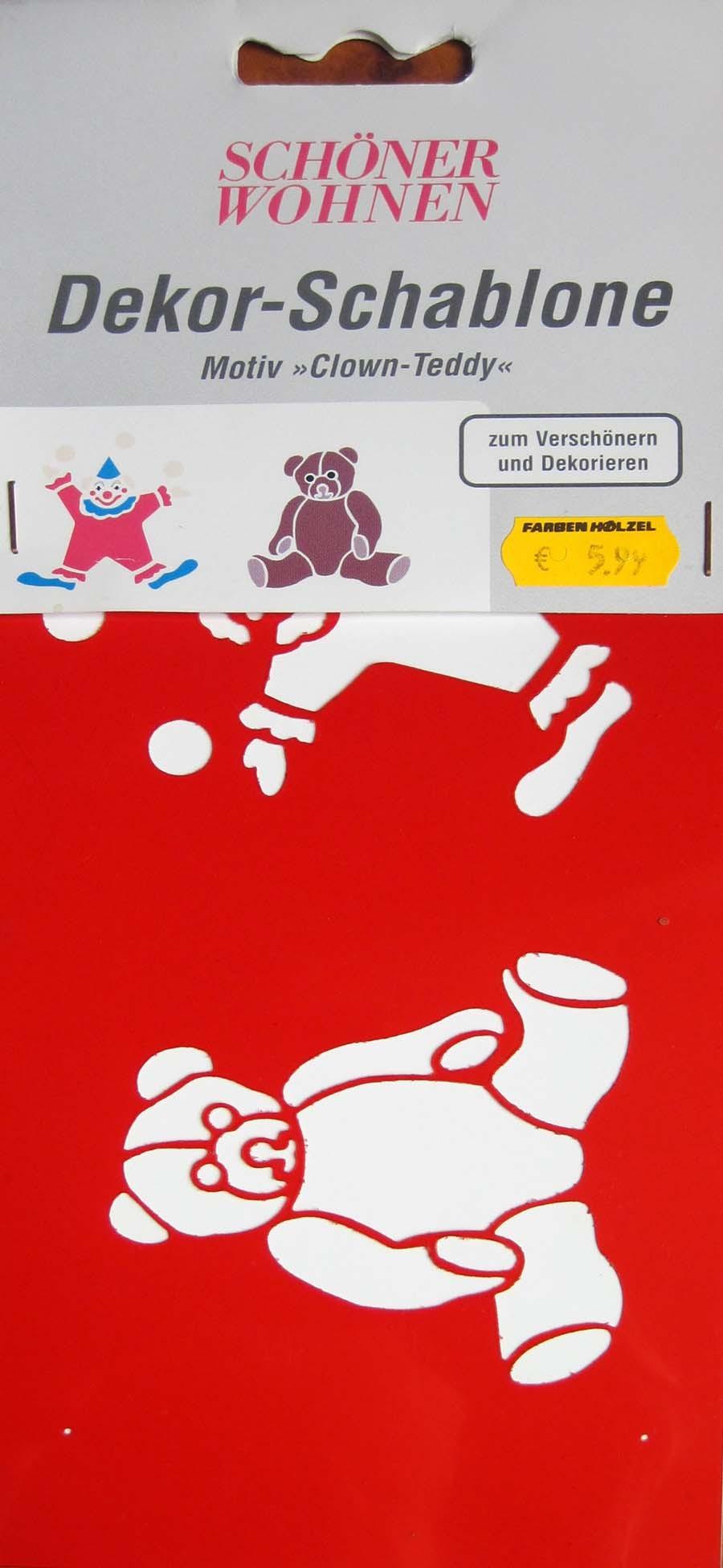 Mal-Schablone Clown-Teddy 11x26 cm Kunststoff