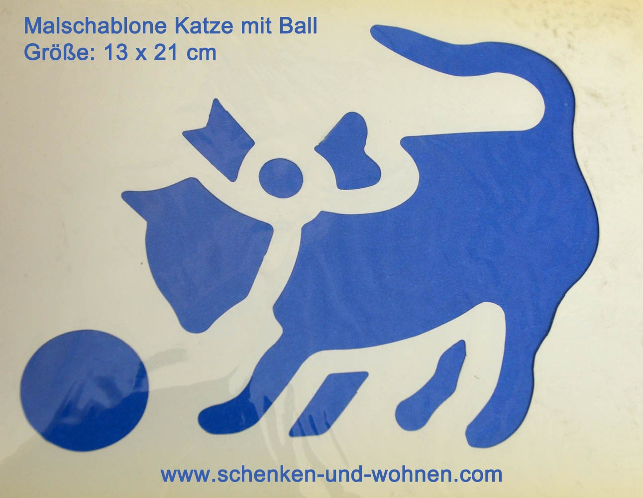Wandschablone Malschablone Bordüre Katze mit Ball