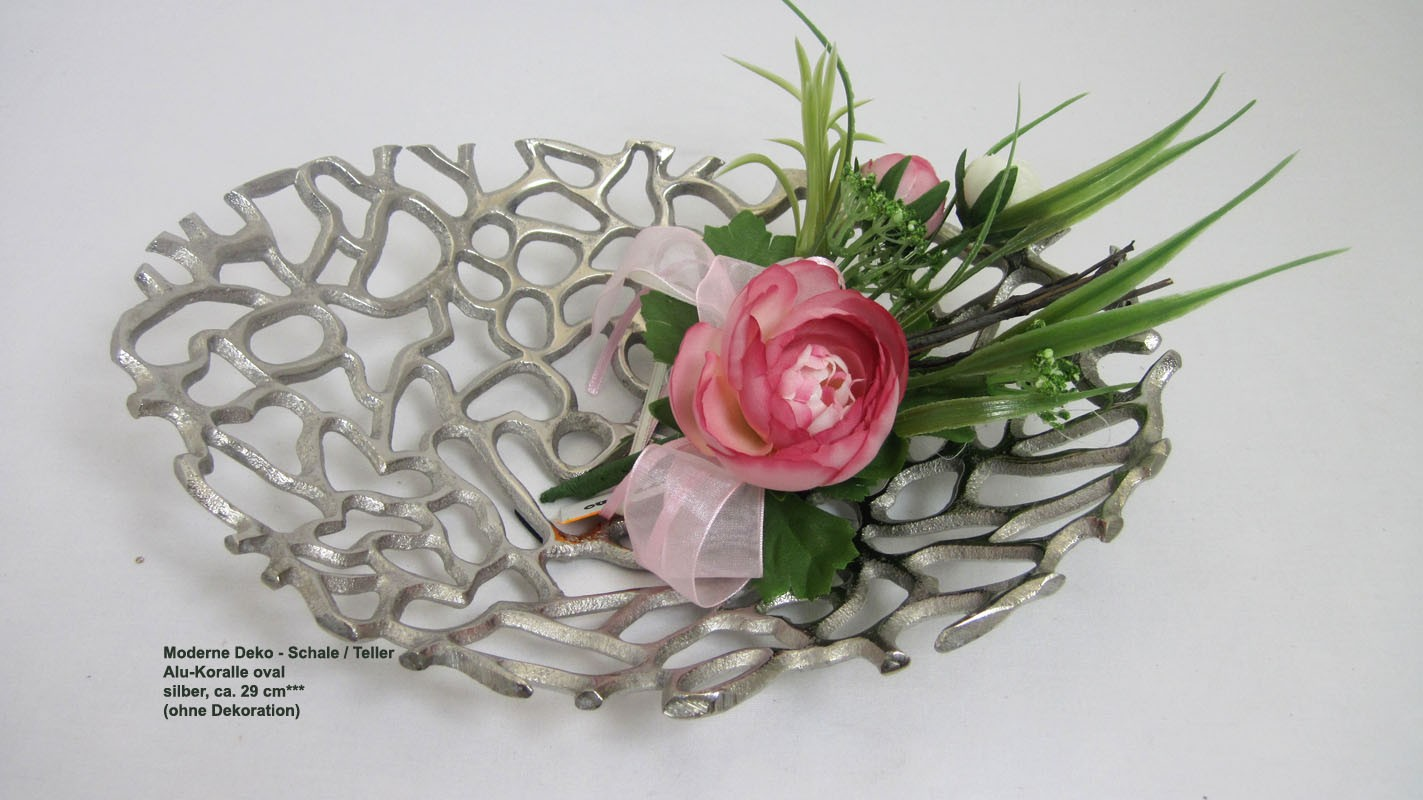Moderne Deko - Schale / Teller Alu-Koralle oval silber ca. 29 cm