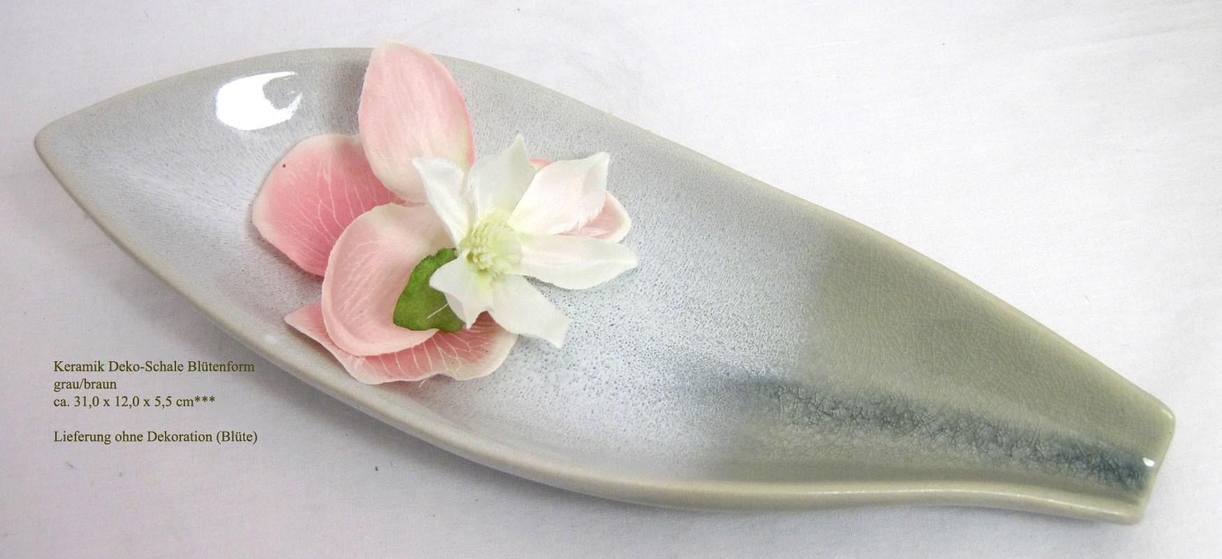 Keramik Deko-Schale Blütenform grau/braun ca. 31,0 x 12,0 x 5,5 cm