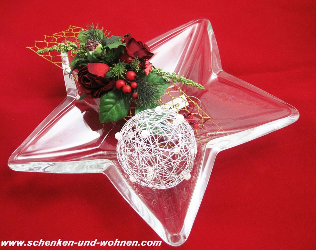 Deko-Teller sternförmig, Glas ca. 35 cm Durchmesser, massiv