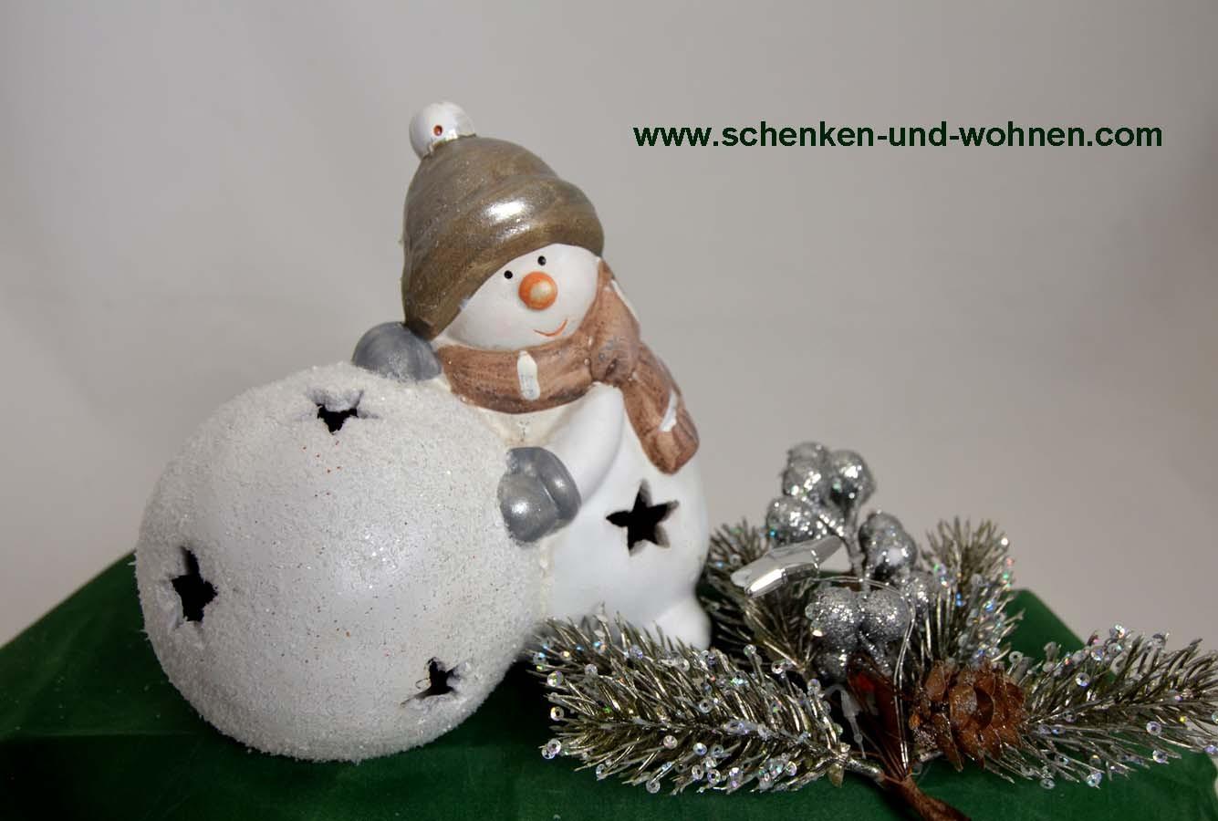Schneemann mit LED-Kugel Keramik 15x14x10 (BxHxT)