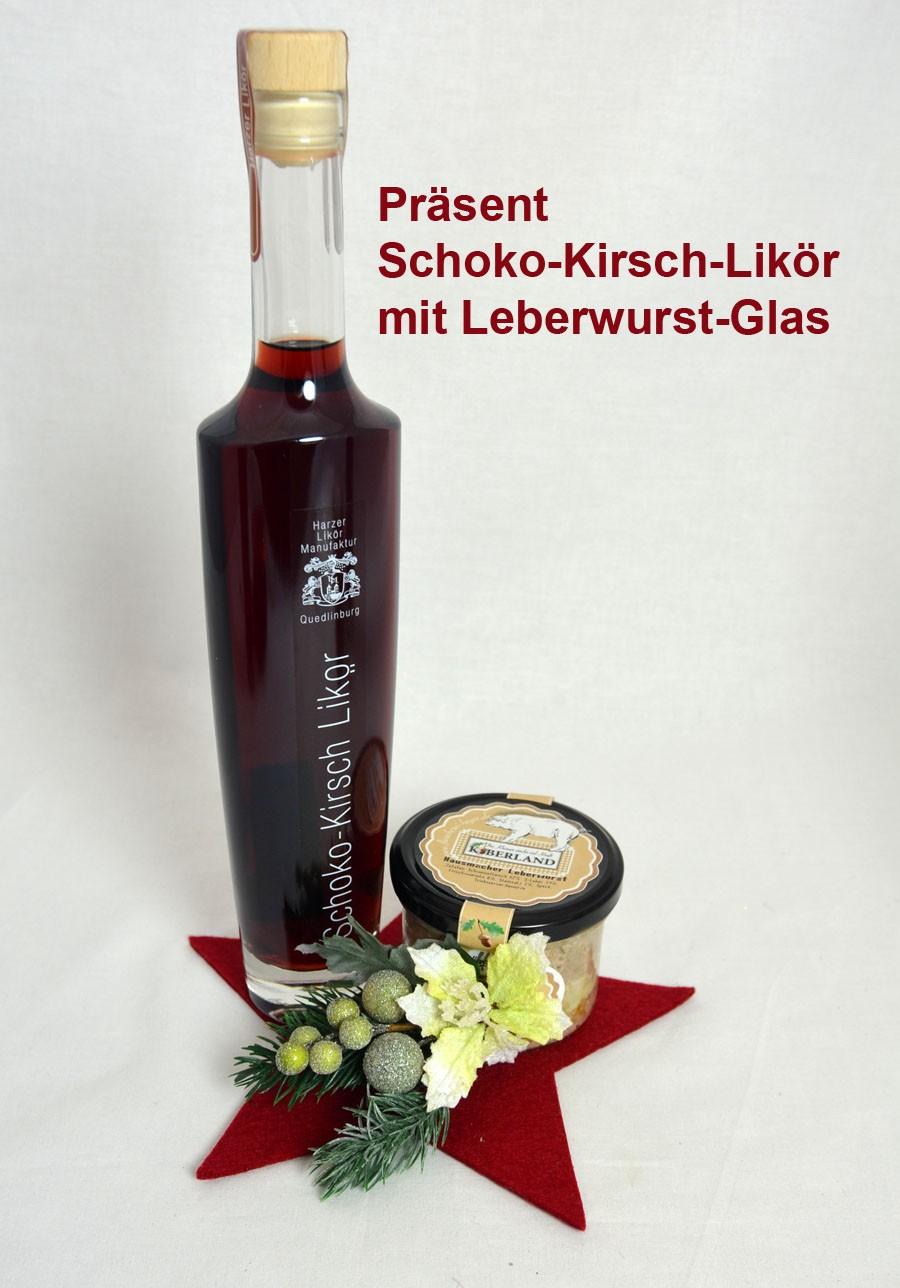 Geschenk-Set fertig verpackt Schoko-Kirsch-Likör mit Leberwurst-Glas