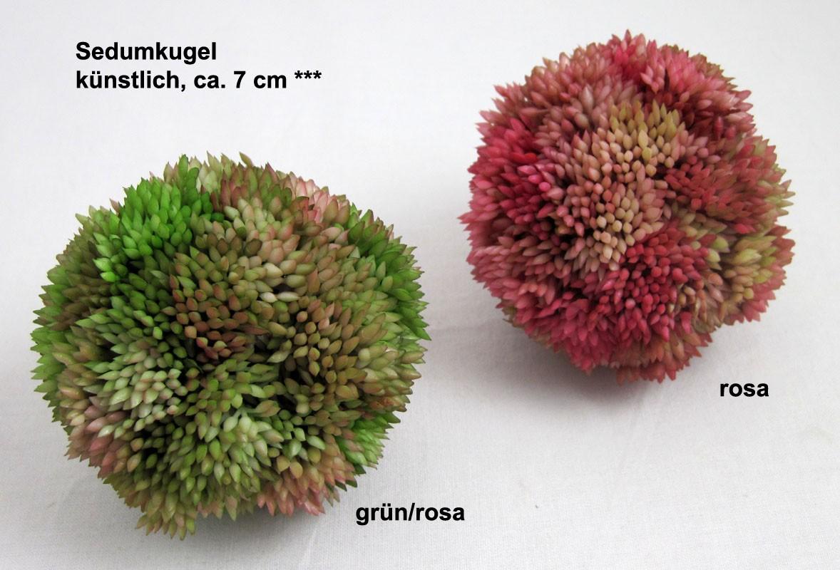 1 Sedumkugel künstlich, grün, ca. 7 cm