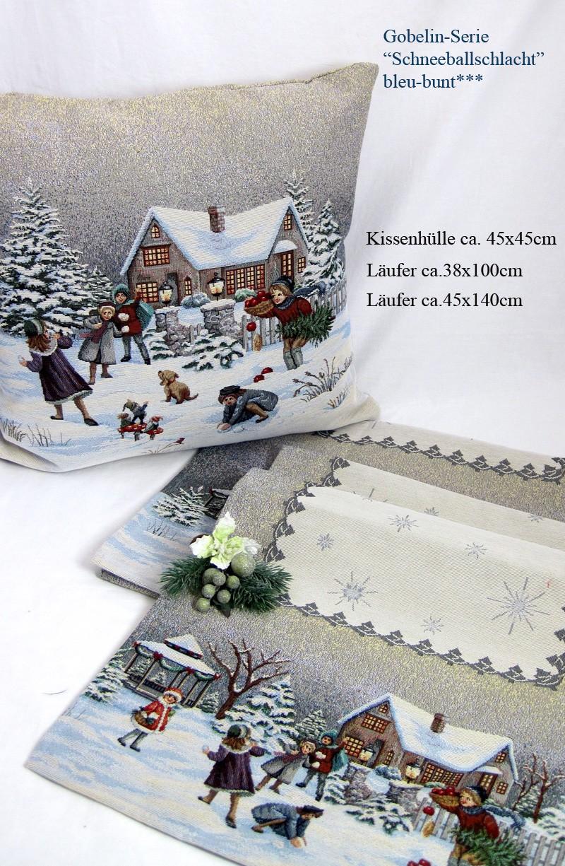 """Gobelin Weihnachtsläufer """"Schneeballschlacht"""" mehrfarbig-bunt, ca. 45 x 140 cm"""
