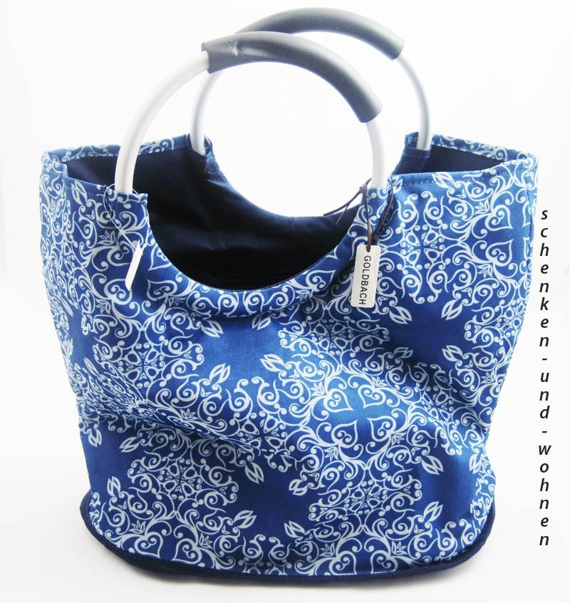 Einkaufstasche Shopper Textilmaterial Blau 40 x 45 x 26 cm