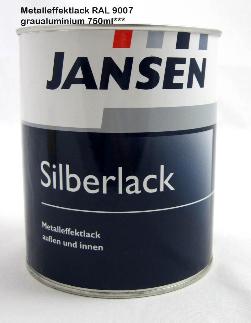Jansen Silberlack Metalleffektlack Graualuminium außen und innen 750ml