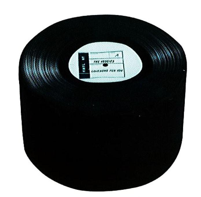 Sitzhocker rund Langspielplatte Schwarz ca. 50 x 30 cm