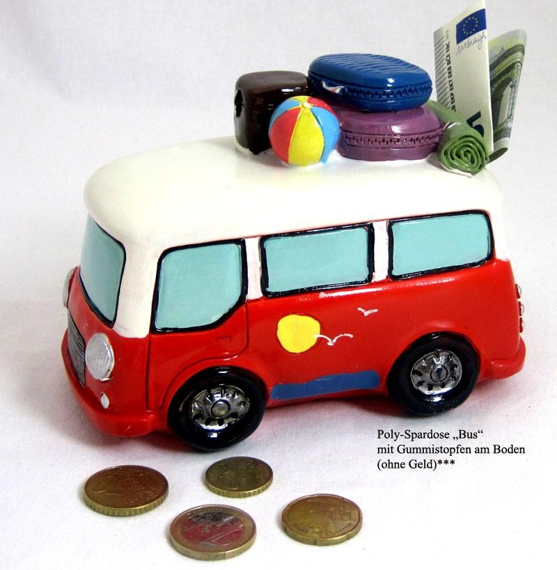 Poly - Spardose Bus mit Gepäck ca. 15,0x11,0x9,0cm (L/H/B)