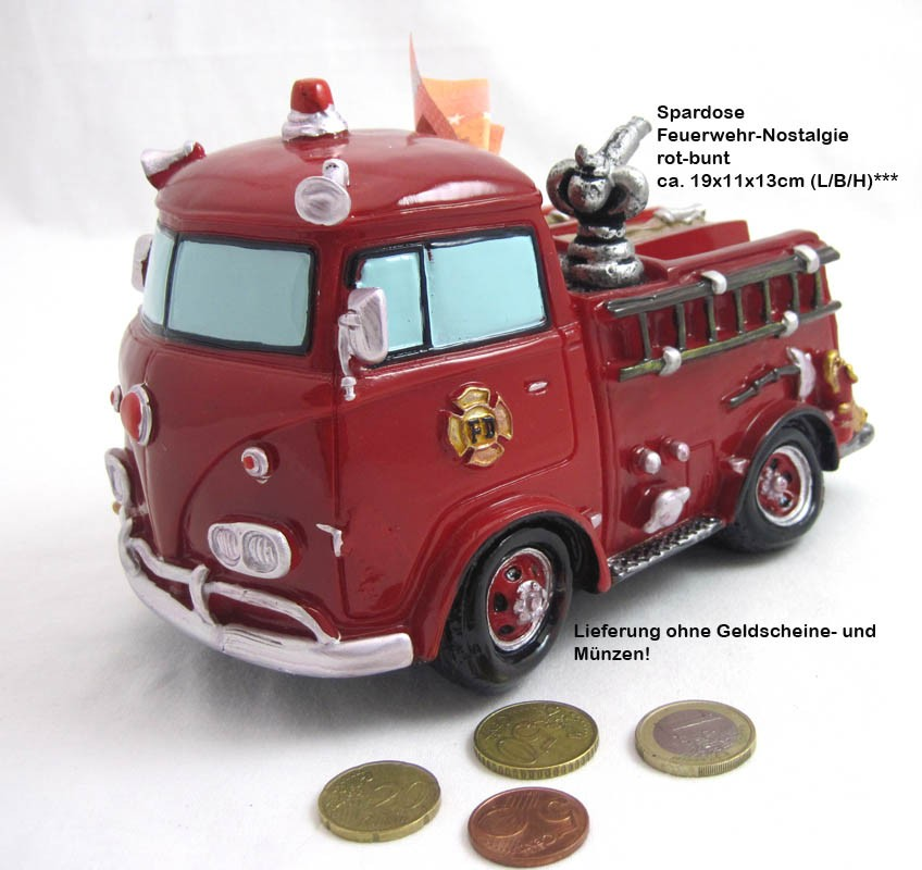 1 Spardose Feuerwehr Nostalgie rot-bunt ca. 19x11x13 cm (L/B/H)