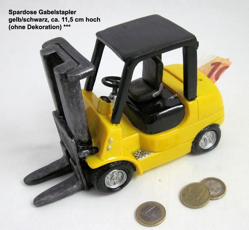 Spardose Gabelstapler, gelb/schwarz, ca. 11,5 cm hoch
