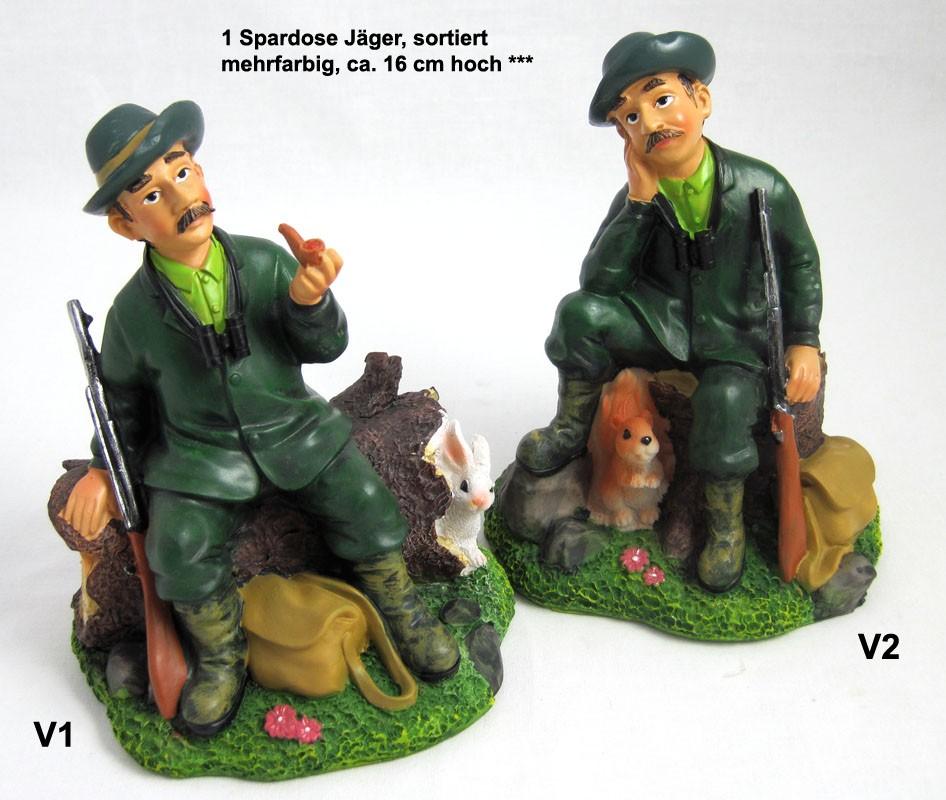 1 Spardose Jäger, sortiert, mehrfarbig, ca. 16 cm hoch