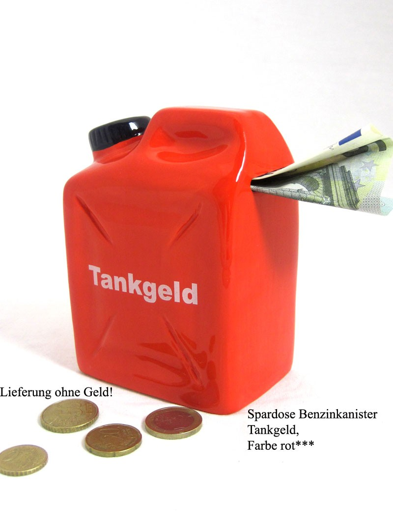 Poly- Spardose Benzinkanister Tankgeld rot, ca. 9,0x6,0x12,5cm (B/T/H)
