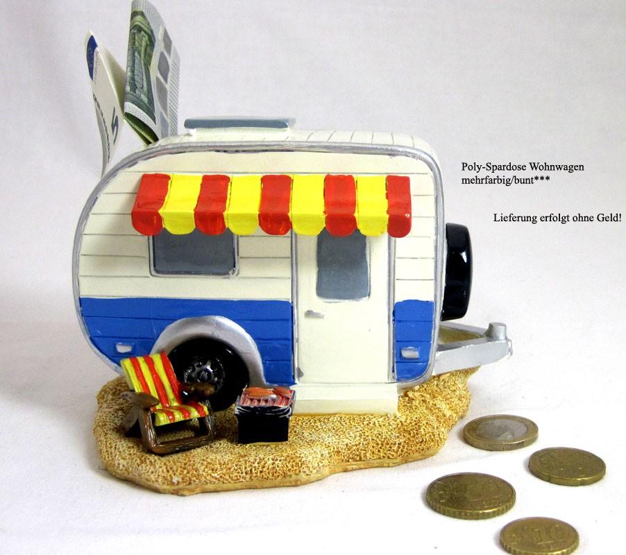 Poly- Spardose Wohnwagen mit Markise mehrfarbig, ca. 11,0x10,0x15,5cm (B/H/L)