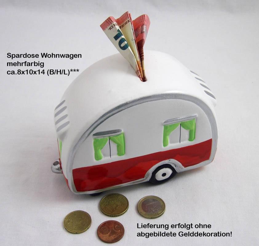 1 Spardose Wohnwagen mehrfarbig ca. 8x10x14 cm (B/H/L)