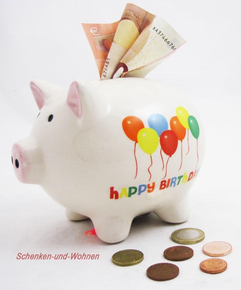 """Sparschwein """" Happy Birthday """" Weiß  ca. 11 x 14 x 11 cm (T/B/H)"""