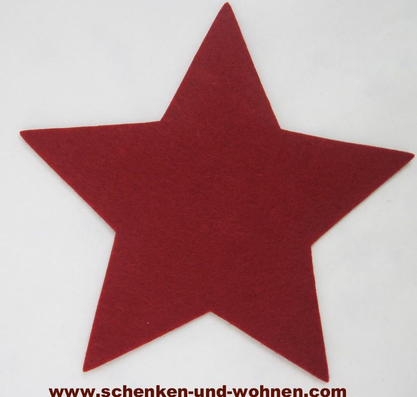 Filz Untersetzer Stern rot, ca. 20 cm (Länge zwischen zwei Sternspitzen)