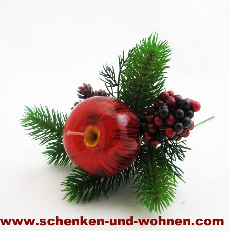 Künstlicher Mix - Tannenzweig mit rotem Apfel 25 cm