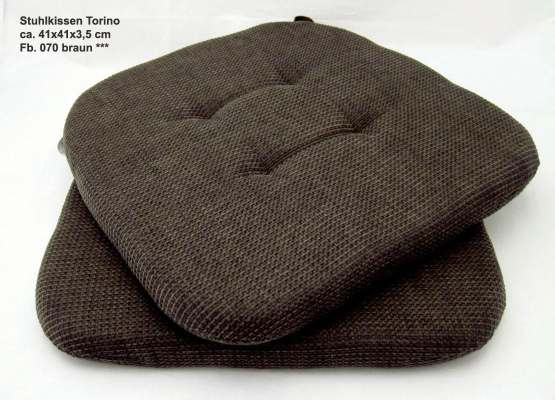 "Stuhlkissen "" Torino "" - braun - Form 23, 41 x 41 x 3,5 cm"
