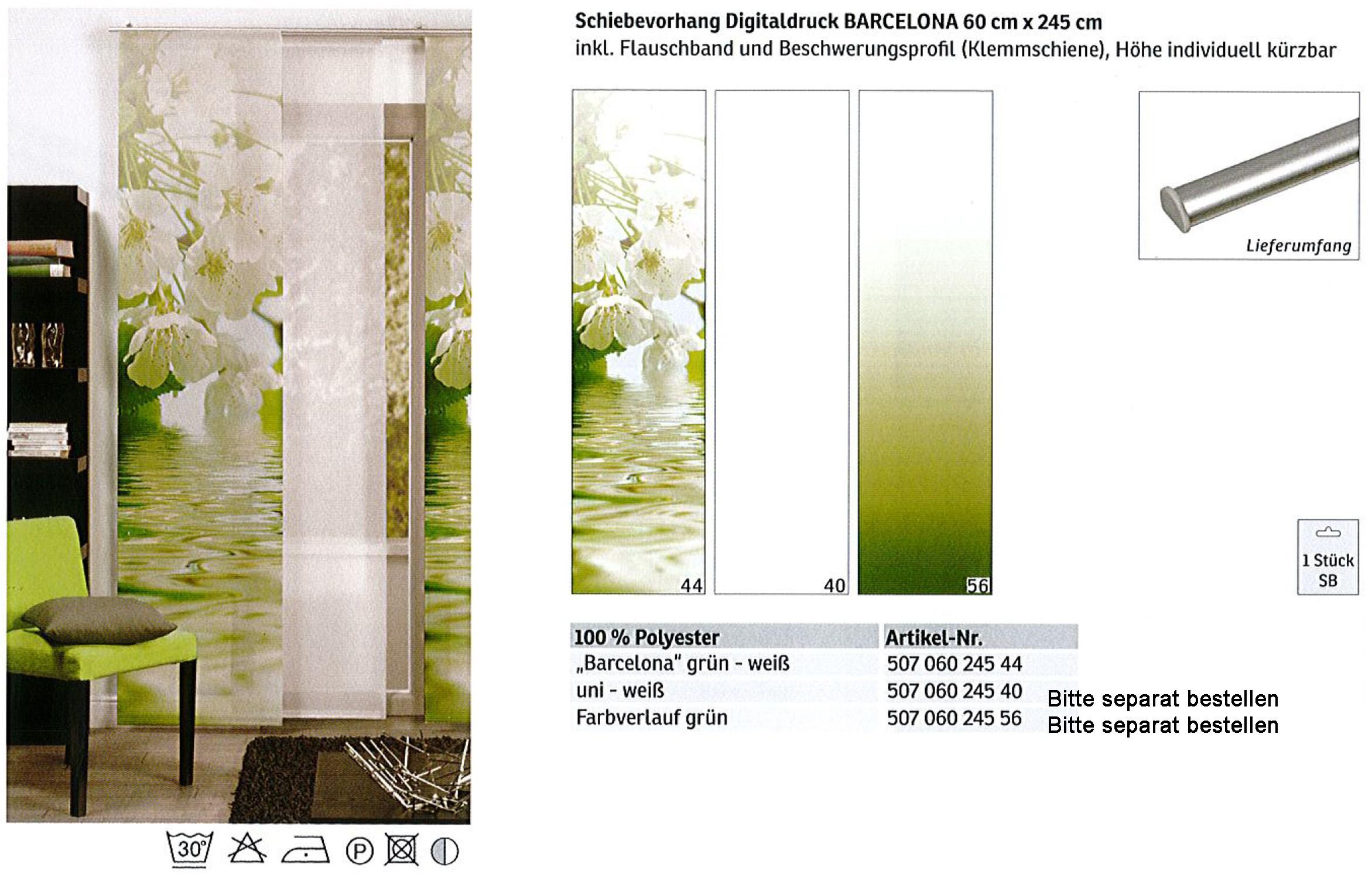 Schiebevorhang Digitaldruck Barcelona Grün - Weiß, ca. 60 x 245 cm