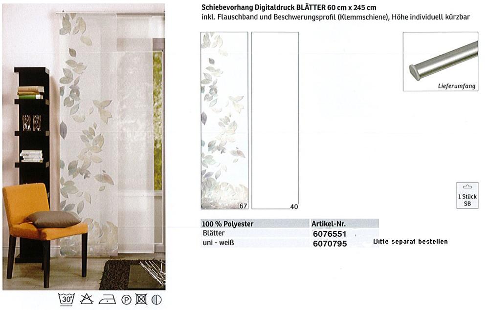 Schiebevorhang Digitaldruck Blätter mehrfarbig, ca. 60 x 245 cm