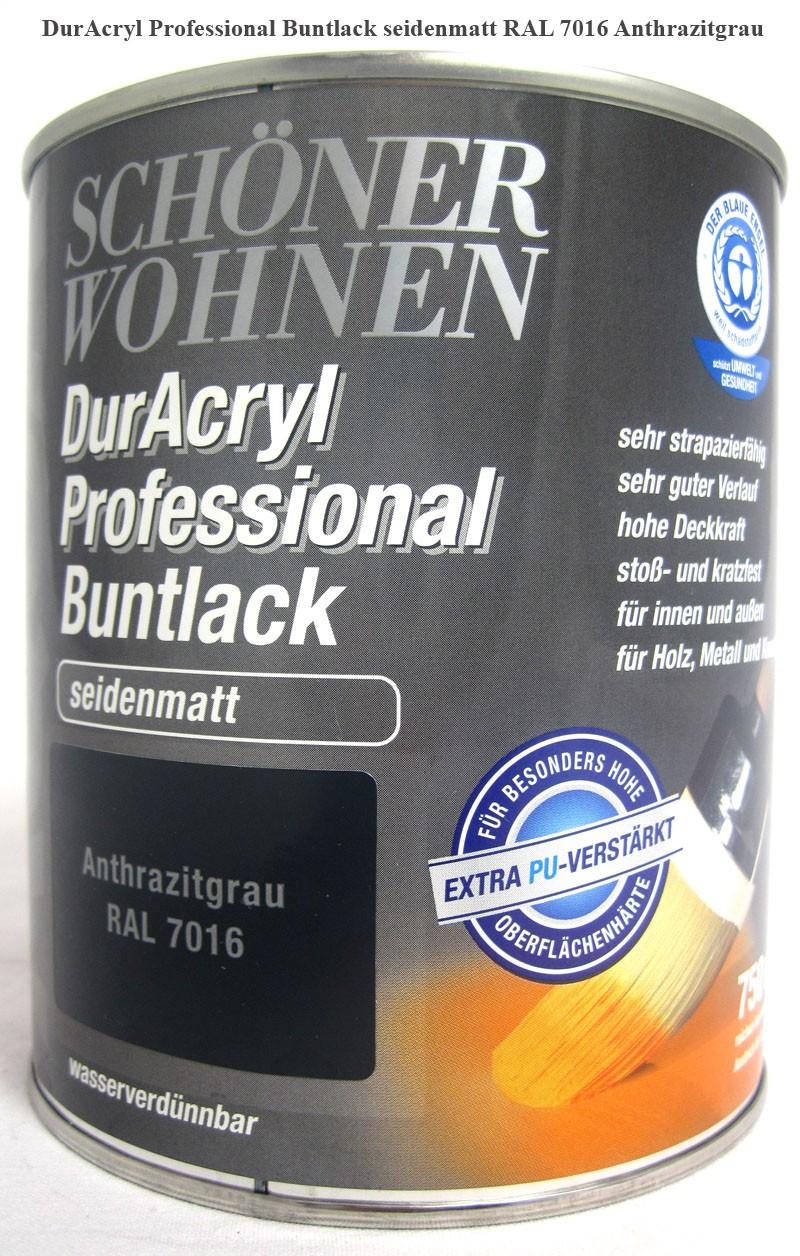 DurAcryl Buntlack-Acrylat,seidenmatt,RAL7016 Anthrazitgrau,750ml