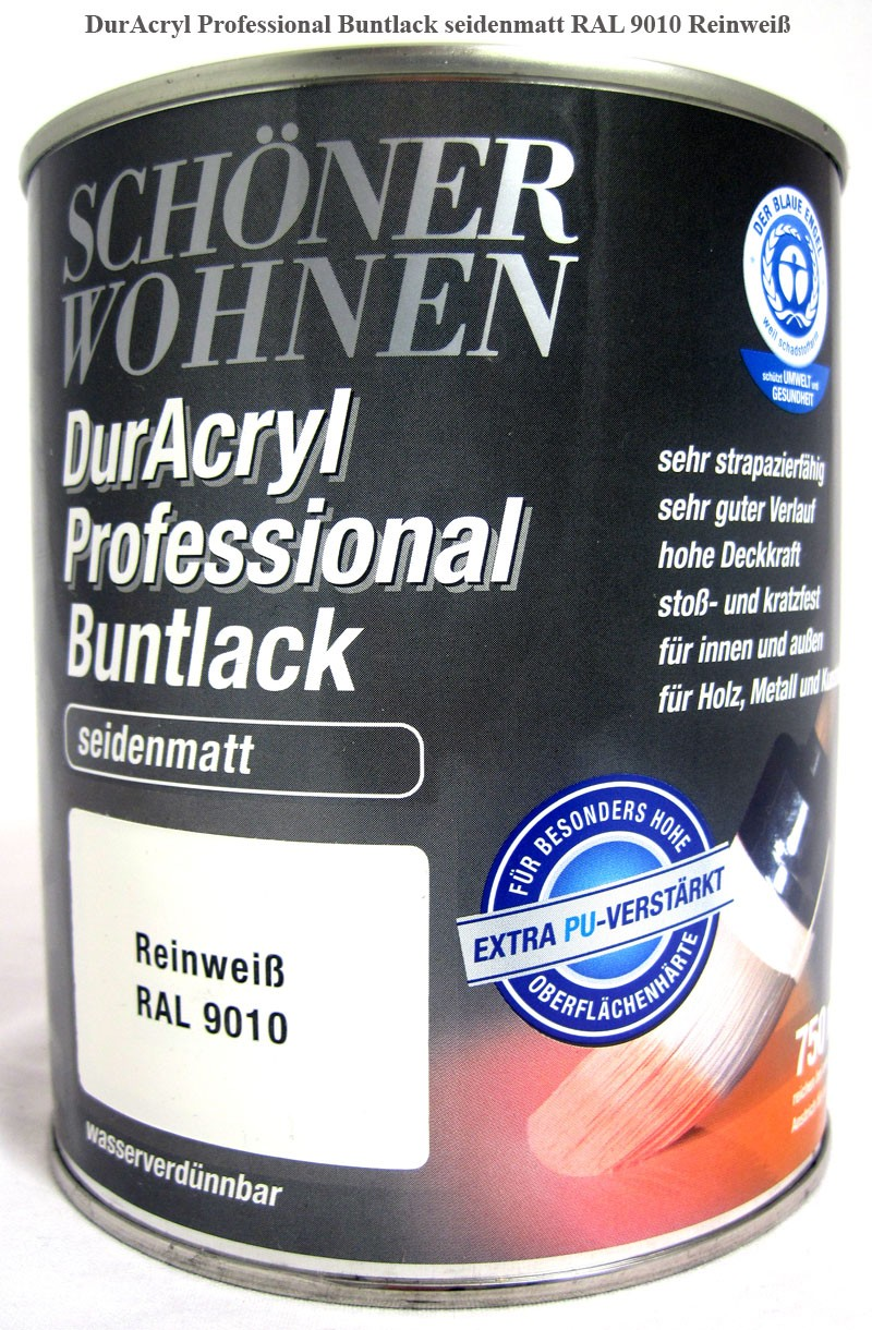 DurAcryl Buntlack-Acrylat, seidenmatt,RAL 9010 Reinweiß, 750ml