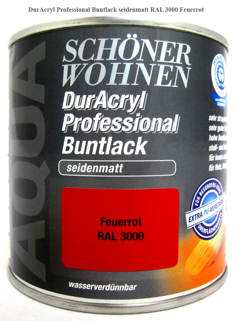 DurAcryl Professional Buntlack-Acrylatbasis, seidenmatt,RAL 3000 feuerrot 375ml