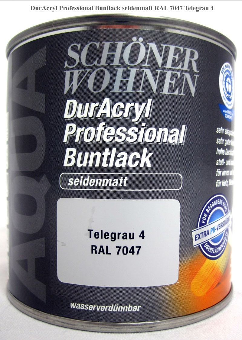 DurAcryl Buntlack-Acrylatbasis, seidenmatt, RAL 7047 Telegrau 4, 375ml