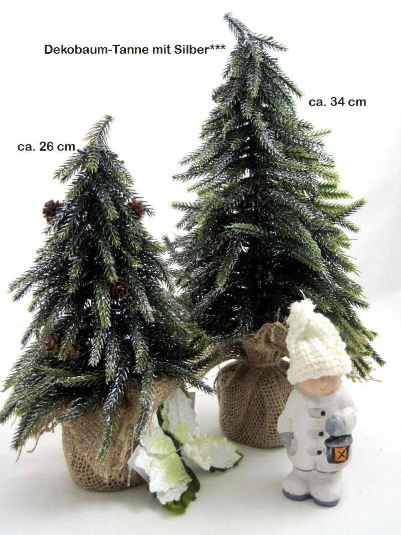 Deko-Tanne im Jutesack, mit Zapfen und Glitzerdekor ca. 26 cm hoch