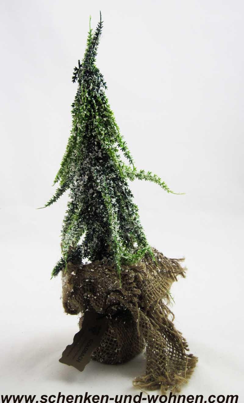 Tannenbaum im Jutesack, verschneit ca. 10 x 28 cm