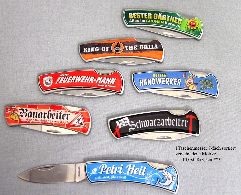 """Taschenmesser mit Spruch """"Petri Heil"""" ca. 10,0 x 0,8 x 3,5 cm"""