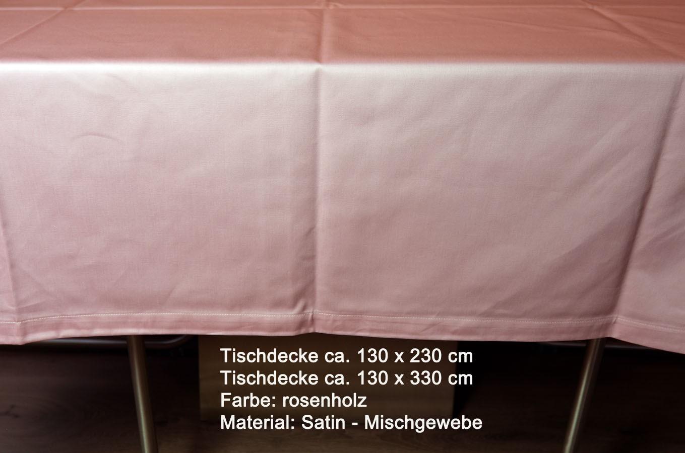 Tischwäsche Tischdecke 130 x 330 cm rosenholz Uni-Satin