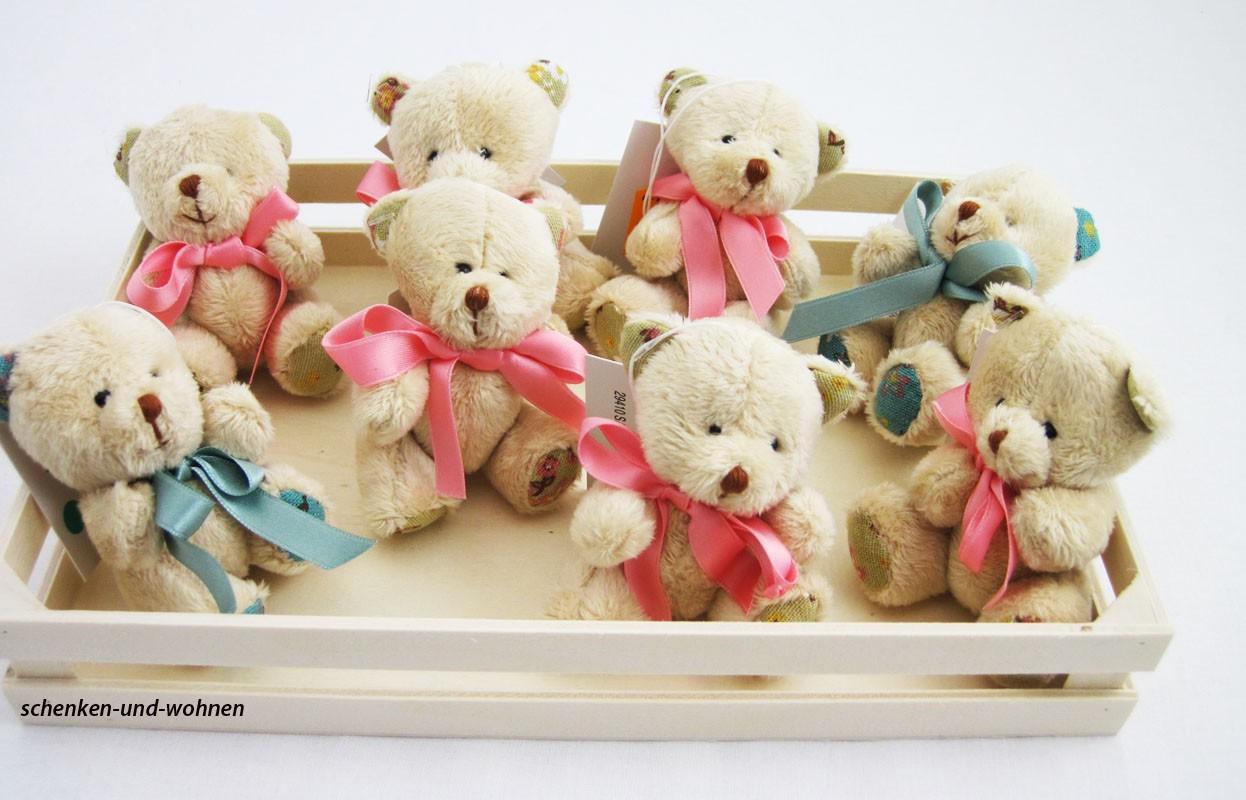 Teddy - mit blauer Schleife lose gebunden, ca. 8 cm