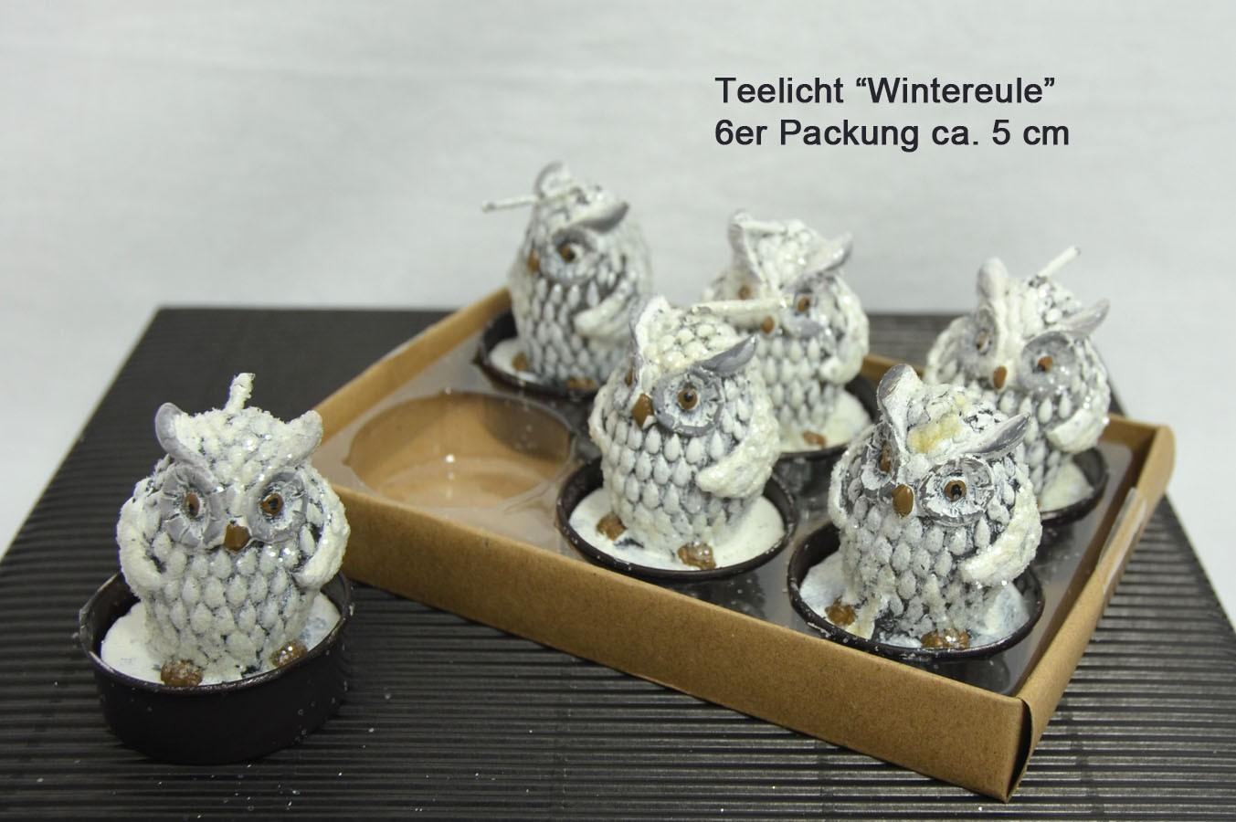 Teelichter Wintereule 6er Packung ca. 5 cm